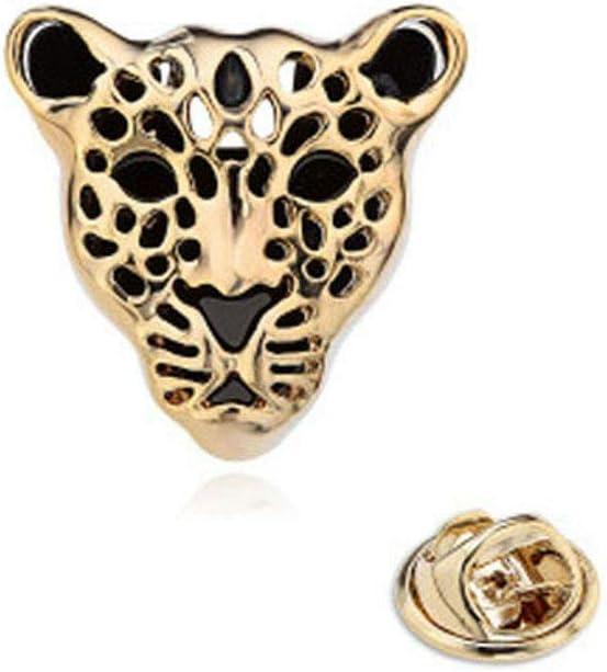 Leopard Head Mens Shirt Collar Tip Stud Clip Lapel Pin Badge Brooch Gold