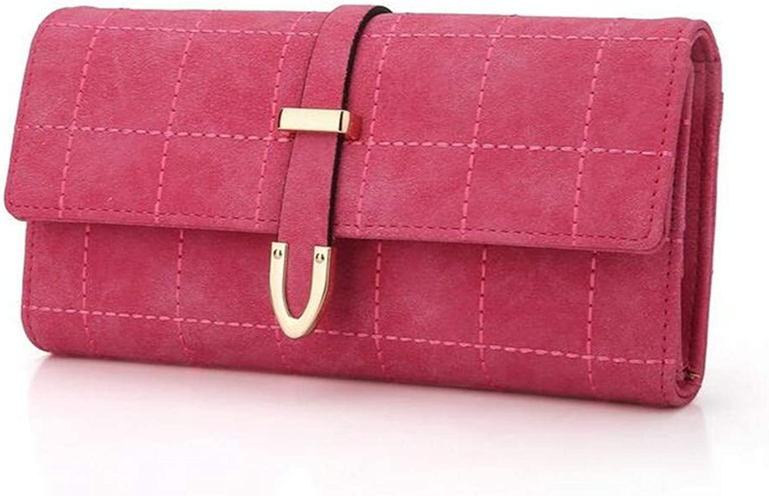 Clutch Bag Women Wallets Drawstring Nubuck Fashion Soft Leather Simple Plaid Long Purse Three Fold Clutch (19  9.5  4cm) Dinner Purse (color   Red)