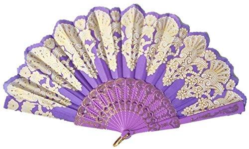 Opvouwbare ventilator,Retro paarse mode opvouwbare gouden blokkerende dansende ventilator Delicate ambachtelijke decoratie Fan cadeau