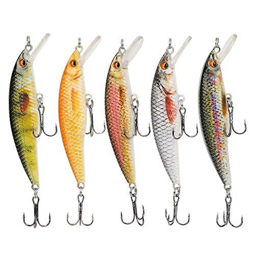 【  】Esche da Pesca realistiche in plastica, Pesca Accessori,Esche da Pesca, Esche da Pesca, Bambini Adulti per Pesci dAcqua Dolce/salata(5-Color Box, 8CM-7G-6#Hook