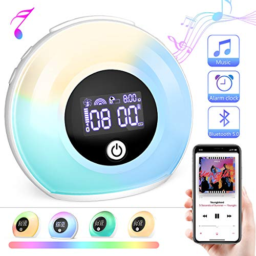 Sinohrd Wake Up Light Alarm Clock, Kids Night Light with Wireless Bluetooth Speaker, Tap/Knock to Change 5 Color Lights,4 Brightness for Bedroom Living Room Decor,Party,Gift