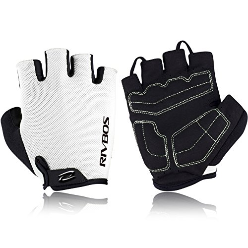 RIVBOS Bike Gloves Cycling Gloves Fingerless for Men Women with Foam Padding Breathable Mesh Fashion Design for Mountain Bicycle Motorcycle Riding Driving Sports Outdoors Exercise CHG001 (White 2XL)