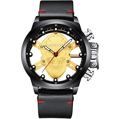 Relojes De Pulsera Trendy Bottom Skull Reloj De Hombre Impermeable Correa De Cuero Reloj De Cuarzo, Dorado