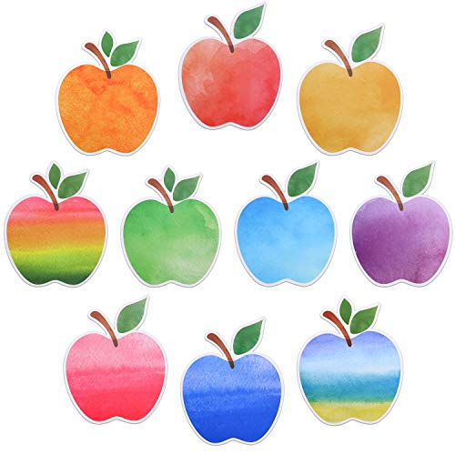 40 Pieces Watercolor Cut-Outs Summertime Apples Cutouts Versatile Colorful Fruit Classroom Decoration Cutouts with Glue Point Dots for Bulletin Board School Summer Fall Theme Party, 5.9 x 4.8 Inches