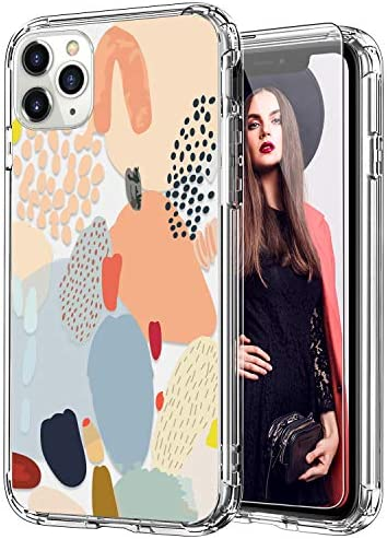 ICEDIO iPhone 11 Pro Max Case with Screen Protector,Clear with Fashion Designs for Girls Women,Shockproof Slim Fit TPU Cover Protective Phone Case for iPhone 11 Pro Max 6.5″ Multi-Colored Painting