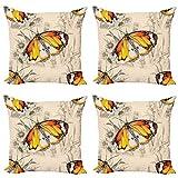 ABAKUHAUS Mariposa Set de 4 Fundas para Cojín, Viaje de meditación, Estampado Digital en Ambos Lados y Cremallera, 50 cm x 50 cm, Crema Naranja Negro