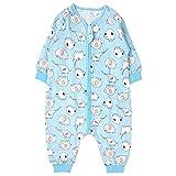 Bebé Saco de Dormir con Pies Verano Pijama Manga Larga Mono Muselina de Algodón Transpirable Mamelucos Niños Niñas Unisex 3-4 años Elefante azul