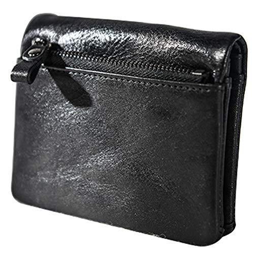 HQEFC Womens portemonnee twee vouwen eenvoudige korte rijbewijs munt portemonnee met ketting Multi vak portemonnee voor met dubbele rits, Credit Card leer, 11.3x9x2.5cm