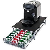 Soporte para cápsulas de café de Tassimo, de la marca Home Treats. Soporte para 60 cápsulas apilables. Superficie antivibración y antideslizamiento, cajones de malla