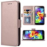 Phone Case for Samsung Galaxy S5 Folio Flip Wallet Case,PU Leather Credit Card Holder Slots Heavy Duty Full Body Protection Kickstand Protective Phone Cover for GalaxyS5 SV i9600 Men Rose Gold