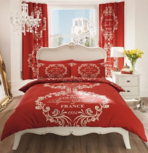 LUXURY DOUBLE BED QUILT COVER BEDDING SET SCRIPT PARIS CHIC FRANSE TEXT-RED
