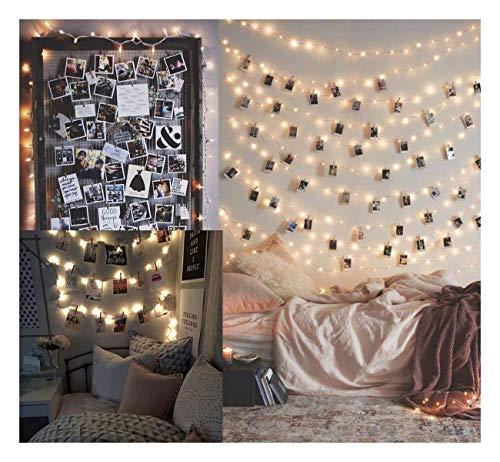 ZBM-ZBM 10M100LED Led-lichtsnoer met een foto-map 100 stuks fotolijsten wand decoratieve lichtketting clip - feest, kwart, familie, gedecoreerde slaapkamer lichtketting