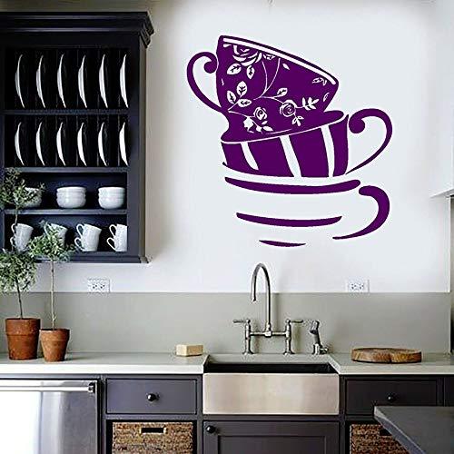 Calcomanía de pared taza de té casa cocina artista decoración del hogar vinilo pared pegatina flor rosa estilo Retro Mural ventana calcomanía