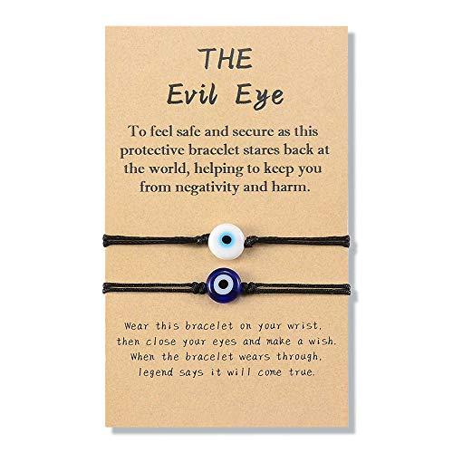 YELUWA 2Pcs Black Evil Eye Bracelets for Women Men Good Luck Jewelry Nazar Kabbalah Protection Couple Friendship Family Ojo Turco Strings Lucky Charm Gifts for Birthday Her