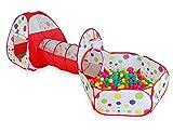 Campfine 3 in 1 Bambini Giocano Tenda Tenda Crawl Tunnel e Palla buca Bambino Playhouse Tenda con canestro da Basket, per Uso Interno ed Esterno con Custodia