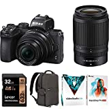 Nikon Z50 DX Mirrorless Camera w/NIKKOR Z DX 16-50mm & 50-250mm VR Lens - (Renewed) Bundle with 32GB SDHC UHS-1 Class 10 Memory Card, Photo and Video Backpack, Photo Video Suite PaintShop Pro