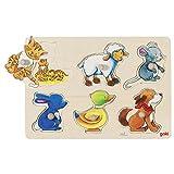 Goki- Puzzles de maderaPuzzles de maderaGOKIEncaje con Dibujos escondidos Mama y su hijito, Multicolor (1)