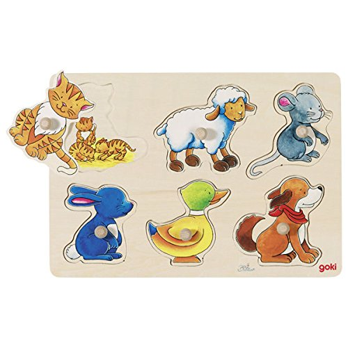 Goki  Puzzles de maderaPuzzles de maderaEncaje con Dibujos escondidos Mama y su hijito, Multicolor (1)