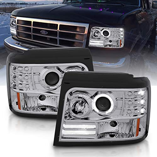 AmeriLite Chrome Projector Headlights Halo For Ford F-150/F-250/Bronco - Passenger and Driver Side