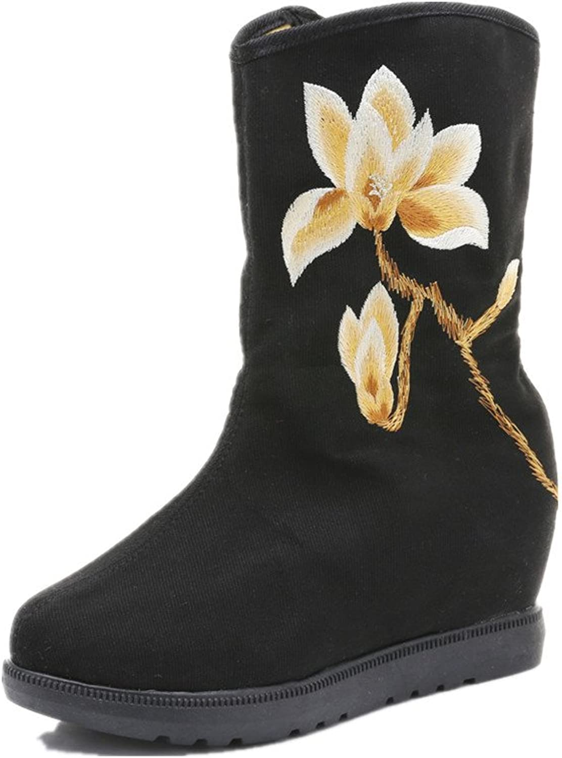Tianrui Crown Women and Ladies The gold Magnolia Embroidery Boots Inner Height Wedge Boot shoes
