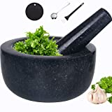 Mortar and Pestle Set Natural Granite Guacamole Molcajete Bowl for Kitchen Herbs Pestos and Spices Grinder Include Non-Slip Silicone Mat Spoon Brush(14x8cm, Polished)