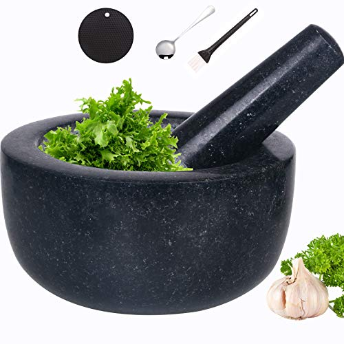 Mortar and Pestle Set Natural Granite Guacamole Molcajete Bowl 6.5inch for Kitchen Herbs Pestos and Spices Grinder Include Non-Slip Silicone Mat Spoon Brush (16x8cm, Polished)