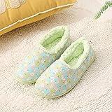 Sonze Slippers Suave,Zapatillas de algodón para confinamiento en el hogar, Zapatos de Maternidad cálidos e Impermeables-Green_35-36,Slipper Interiores y Exteriores