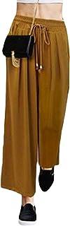 SHOWNO Women's Loose Plus Size Wide Leg Palazzo Pants Drawstring Solid Color Elastic Waist Harem Pants Trousers