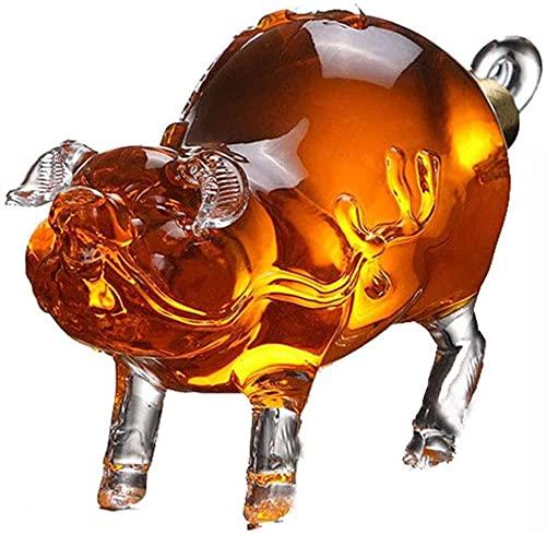 HAOKTSB Decantador de Vidrio Decantador de Whisky Decantadores de Vino Licor - Decantador de Forma de Cerdo for Borbón, Whisky, Scotch, Ron, o Tequila Licorera