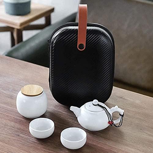 Juego de té de viaje de cerámica portátil Kung Fu Tea Set de una olla de dos tazas a juego con bolsa de almacenamiento, una olla de dos tazas - Grifo de porcelana blanca - B