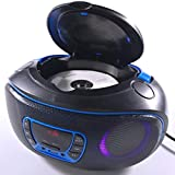 Reproductor de CD portátil Boombox, Bluetooth | Radio FM | USB | Reproducción de MP3 | Compatible con CD-R/CD-RW, Reproductor de CD de Radio