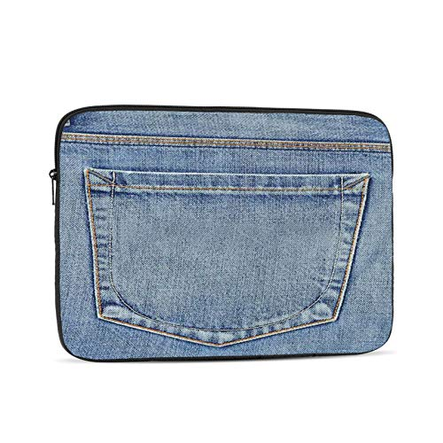 Laptop Sleeve Bag Denim Denim Western Blue Country Empty Back Pocket Portable Zipper Tablet Cover Bag Notebook Computer Protective Bag,Black