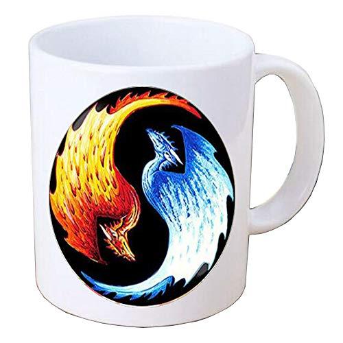 TAP172 - Taza de café con forma de Taiji en forma de pájaro de fuego Yin Yang