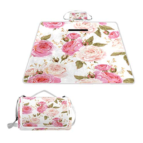 LZXO Jumbo-Picknickdecke, faltbar, Blumen-Rosenblatt-Muster, groß, 145 x 150 cm, wasserdicht, handliche Matte, kompakt, Camping, Wandern.