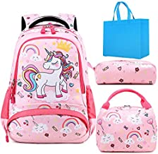 Girls School Bag Set Cute Unicorn Backpack with Chest Strap Kids School Backpack for Girls Elementary Student Schoolbag with Lunch Tote Pencil Pouch 3 in 1 Sets