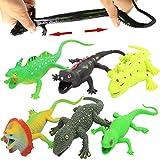 Spielzeuge in Form von Eidechsen,Gummiset 9 inch (6 Packungen),Sicherheitsmaterial TPR,super dehnbar,mit einem geschenkten Lernkasten,Spielzeugfiguren,Badespielzeuge,Gecko,Chameleon,Komodowaran -