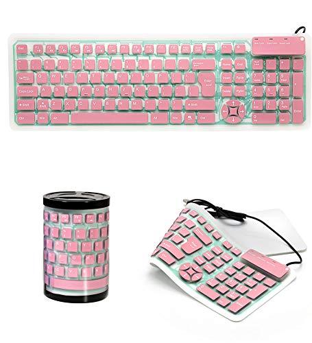 DevileLover Silicone Folding Keyboard, Wired USB Connection, Lightweight Portable Silent, Waterproof Dustproof Travel Keyboard, Full Size 107 Keys, Universal Compatibility, for Desktops, Laptop