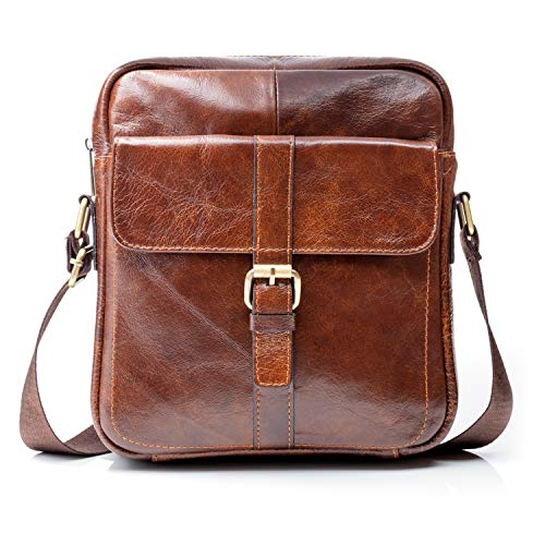 "Premium Leather Crossbody Bags for Men – 9.7"" iPad Pocket, Heavy-Duty Travel Shoulder Bag - Mens Cross Body Messenger Satchel Boasts Brass Hardware, Superior Small Stitching, Better Than YKK Zippers"