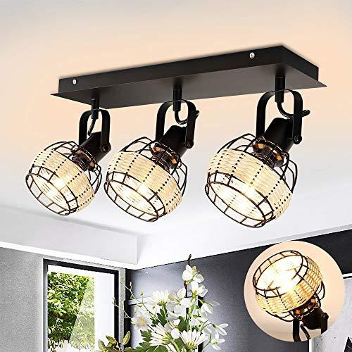 Depuley Lámpara de techo LED de bambú, lámpara decorativa de techo con 3 focos, de ratán, ángulo ajustable, casquillo E14, para dormitorio, salón, oficina, sin bombilla