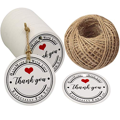 Thank You Tags,Handmade Tags,Gift Wrap Tags,100 Pcs Hand Made with Love Especially for You Kraft Paper Round Gift Tags with 100 Feet Jute Twine
