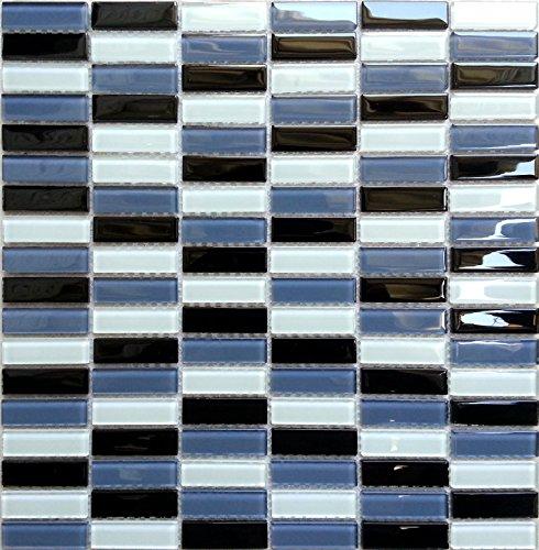 Glas Mosaik Fliesen Matte in Ziegelstein Format Schwarz, Blaugrau und Türkis Weiß (MT0015)
