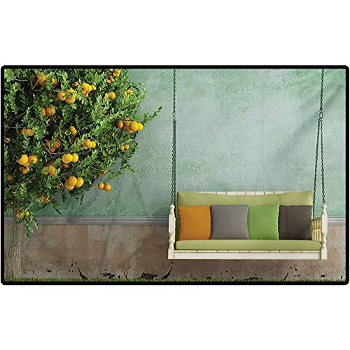 RenteriaDecor Garden Door Mat Vintage Wooden Swing in The Garden of an Old House with a Lemon Tree Summertime Low-Profile Rug Mats for Entry, Patio, High Traffic Areas 72' x 48' Yellow Green