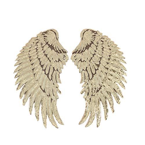 Healifty lentejuelas parches de alas de ángel parches bordados de hierro en alas apliques para ropa chaquetas jeans vestido sombrero accesorio de bricolaje (dorado)