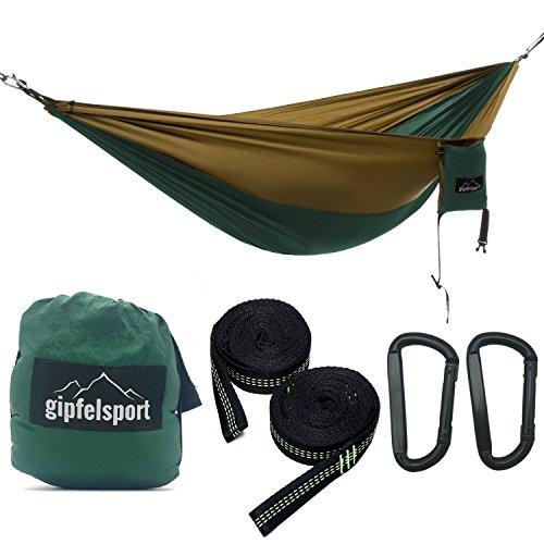 gipfelsport Hängematte - Outdoor Reisehängematte mit Aufhängeset, 2xGurte, grün/braun