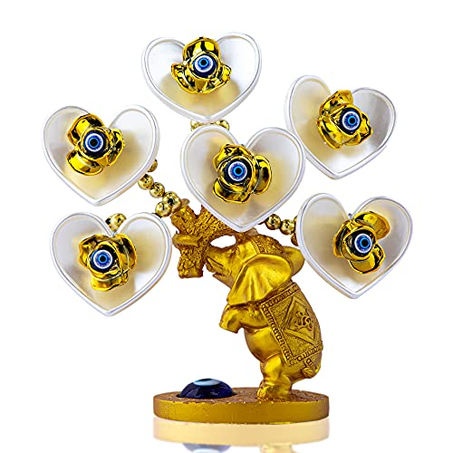 Árbol de dinero de mal de ojo azul con elefante dorado pintado Figurita blanca flores artificiales decoración de protección del hogar oficina Feng shui ornamento
