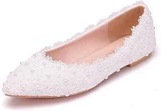 كريستال الملكة النساء شقق أحذية الباليه الأبيض الدانتيل الزفاف الشقق مدبب تو زائد الحجم أحذية حفل الزفاف اللباس الأحذية