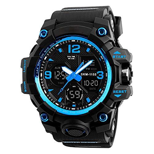 GBHN horloges, waterdichte elektronische horloges, multifunctionele schokbestendige high-end buitenhorloges met twee displays hebben een goede waterdichte prestatie en kunnen tot 70 m waterdicht zijn., size, blauw