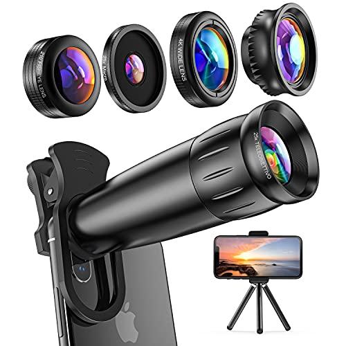 Lieront Obiettivo per Smartphone, Kit 10 in 1 con Teleobiettivo 25x, Grandangolo 0.65x, Fisheye 210° e Macro 25x, Versione Aggiornata Lenti Blu-ray per Migliore Risoluzione, iOS Android Universale