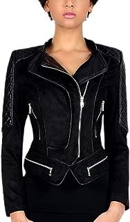 DISSA P2470 Women Faux Leather Biker Jacket Slim Coat Leather Jacket