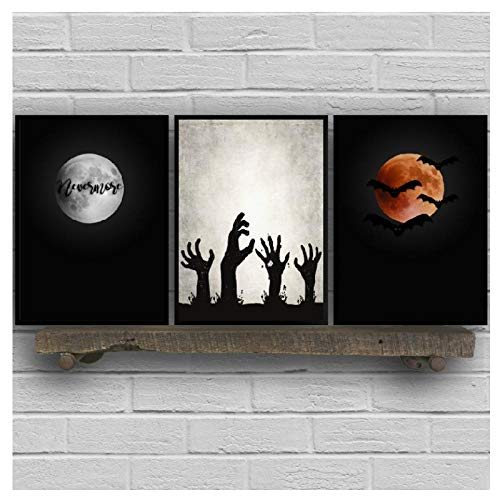 MULMF Halloween muurkunst poster en prints Spooky Home Decor Art Canvas schilderij schilderij schilderijen Halloween Party Decorations - 50X70Cmx3 No Frame